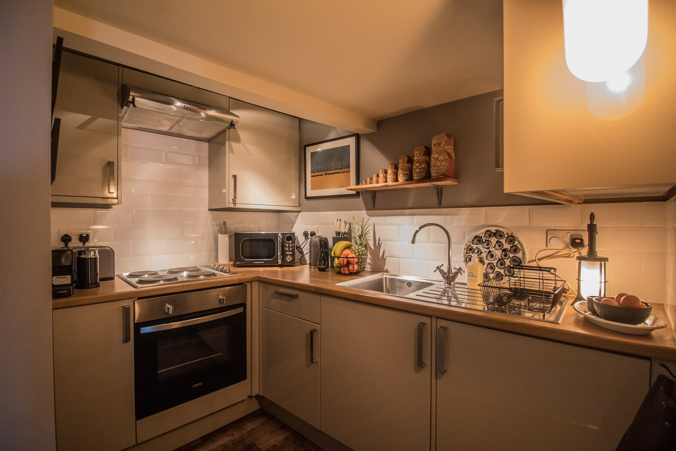 The Crow's Nest Rye - Fully equipped gallery kitchen with Nespresso machine. Holiday home Sussex.