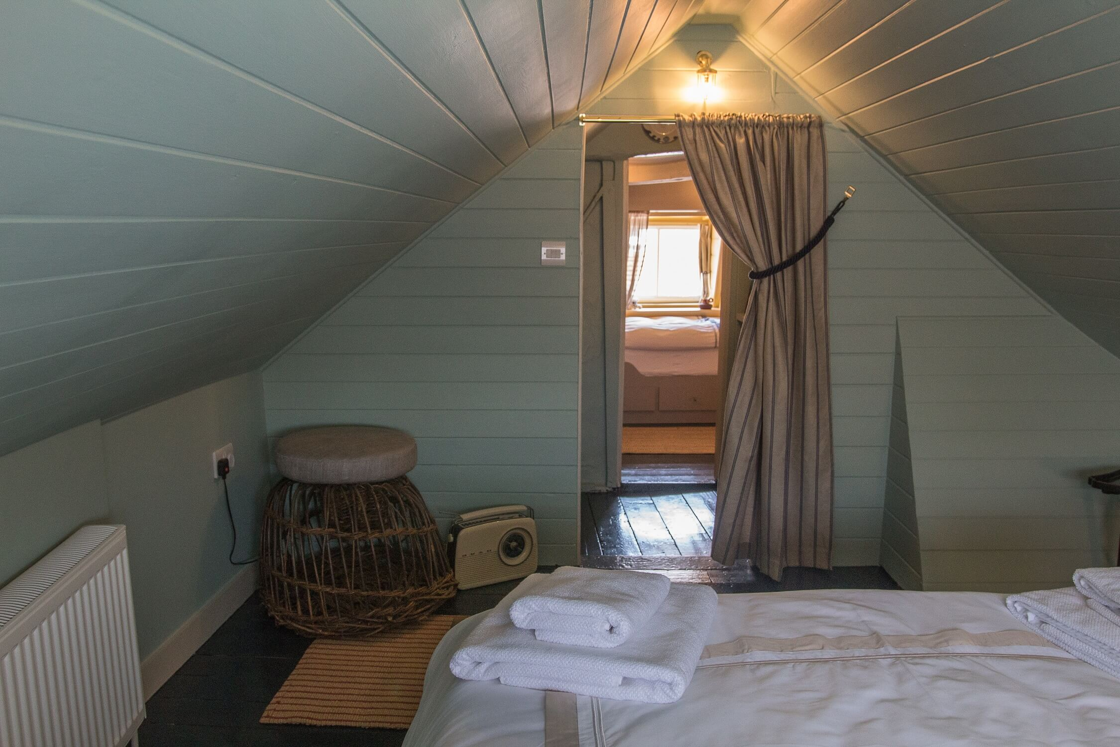 The Crow's Nest Rye - view from double bedroom to cabin bedrooms. Family friendly retreat.