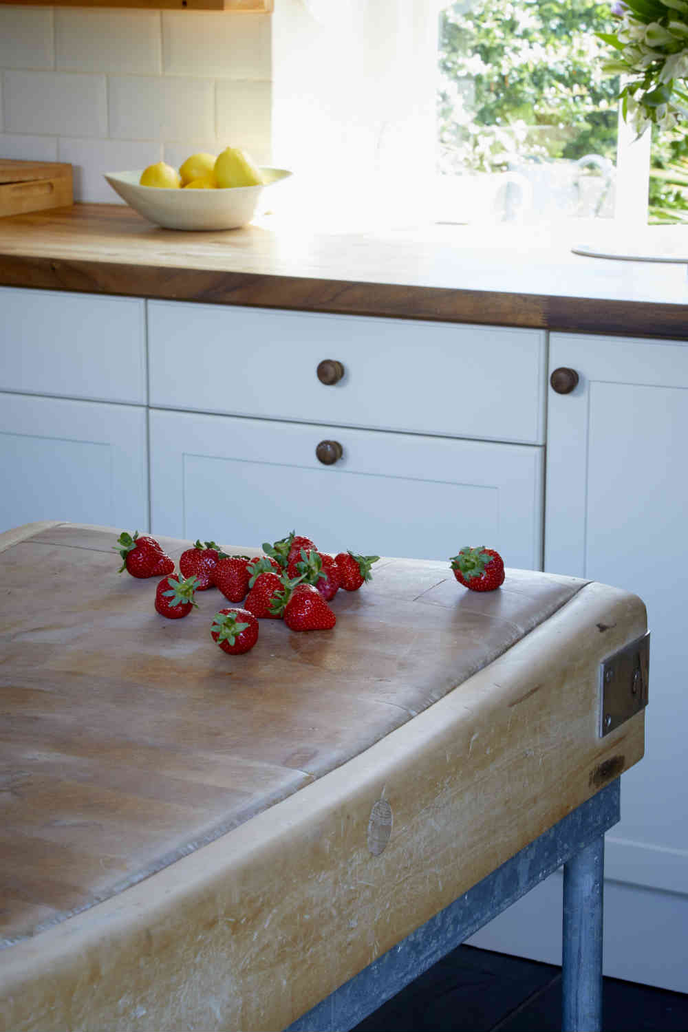 Butchers block in kitchen