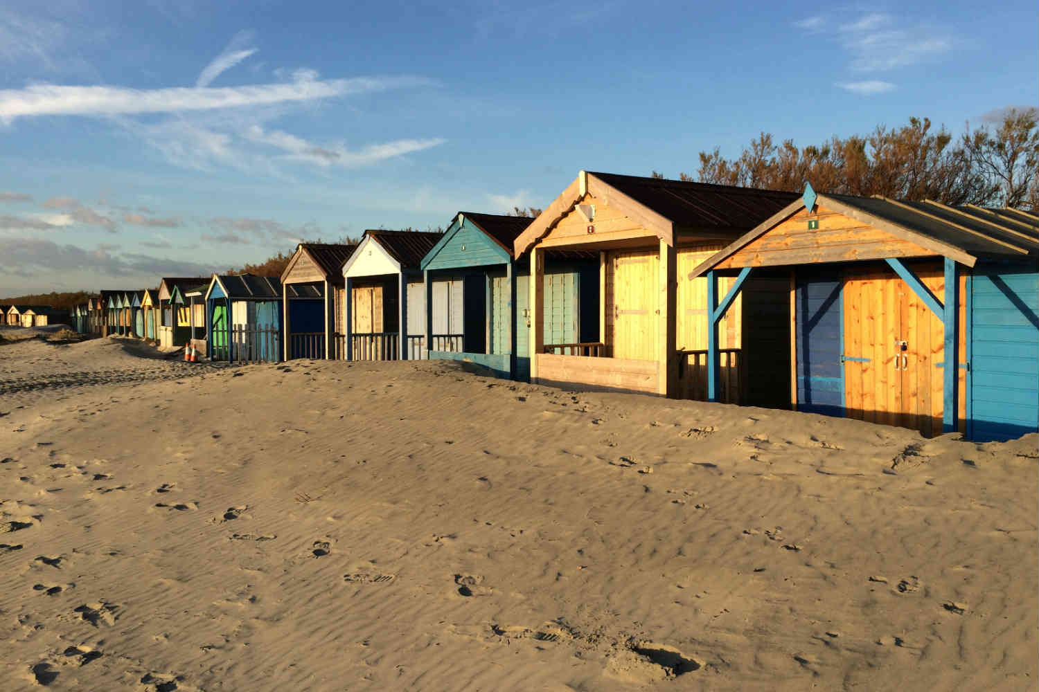 Sandy beach and huts at West Wittetring