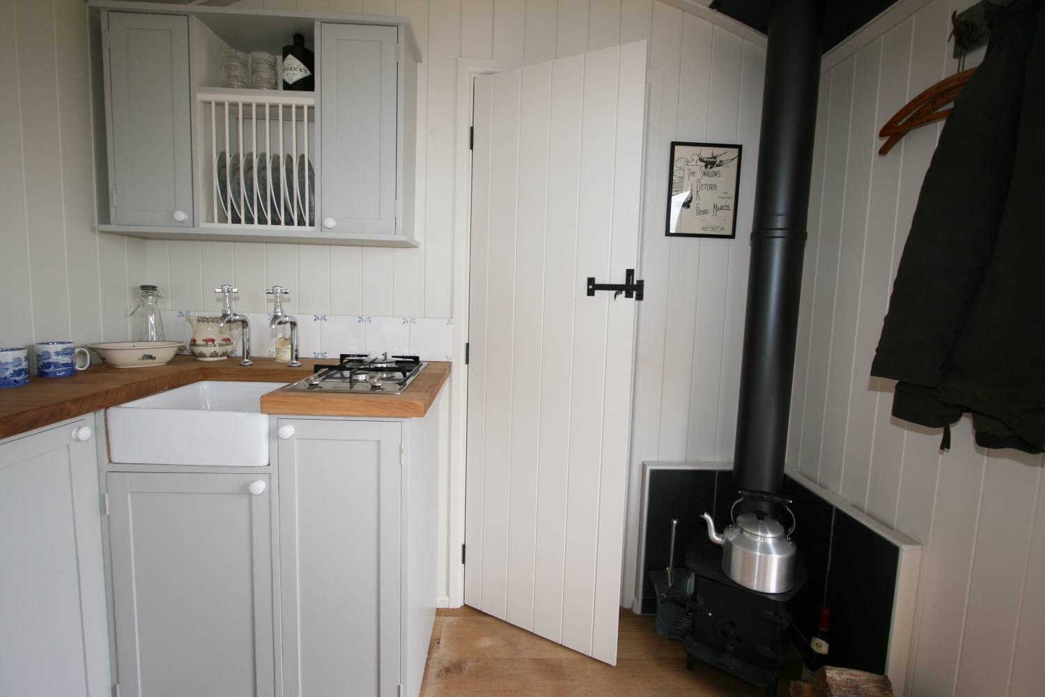 The Salty Shepherd - kitchen area and woodburner