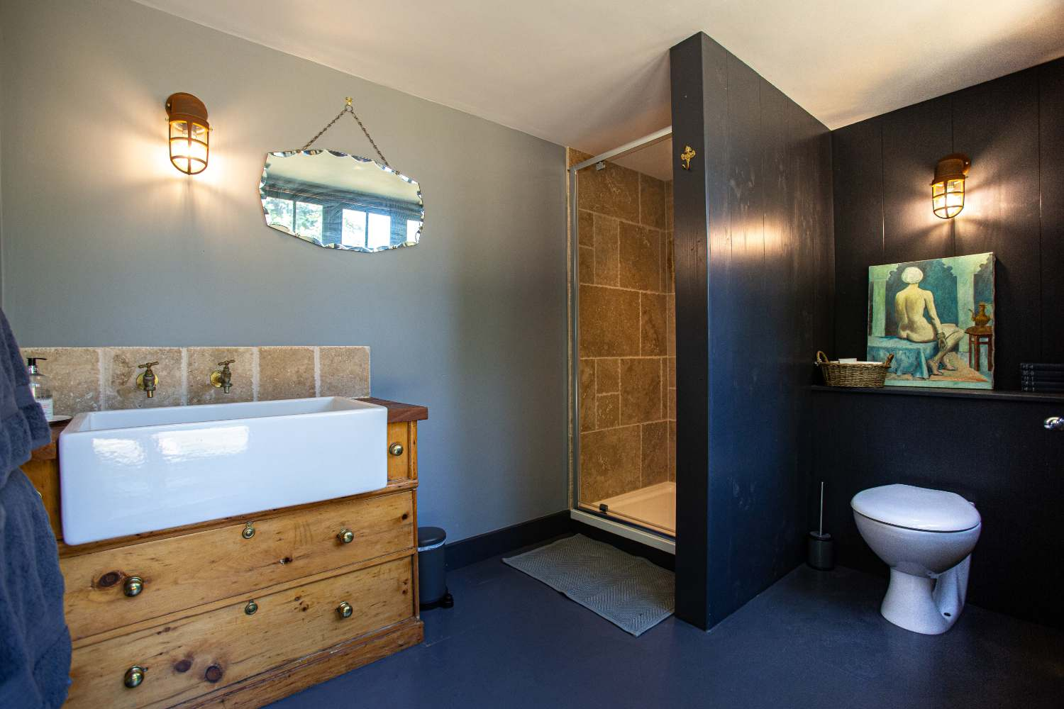 Bathroom with power shower in adjacent barn, a few seconds walk away.