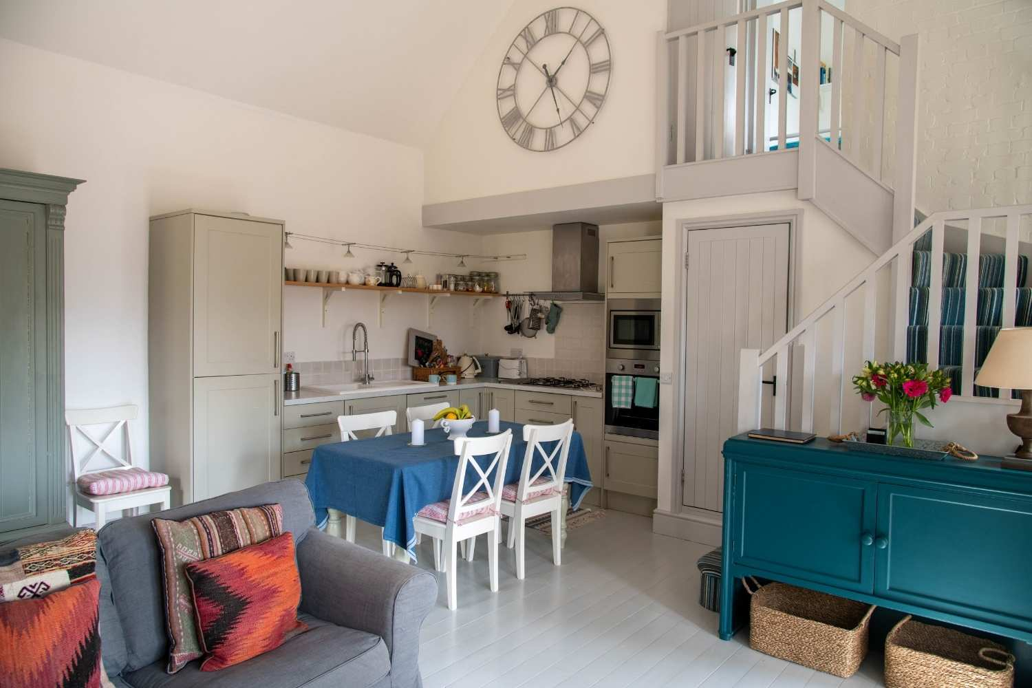 Open plan kitchen, dining & sitting room with vaulted ceilings