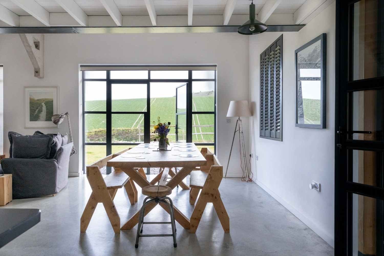 Dining table with views across rolling countryside