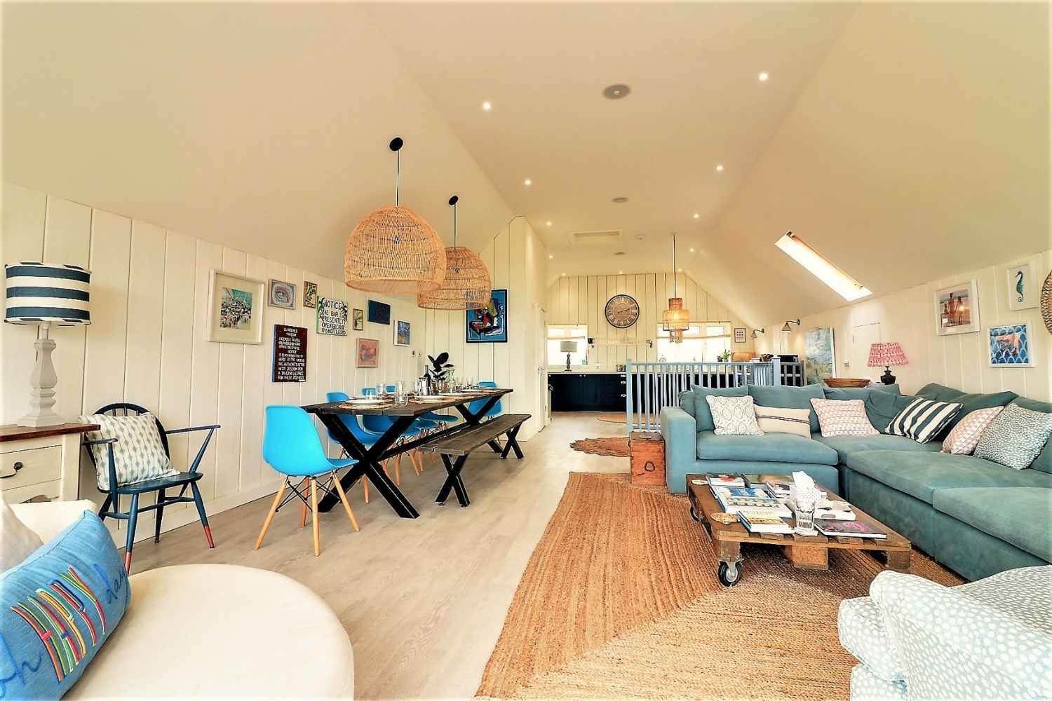 Huge sociable living, dining and kitchen space