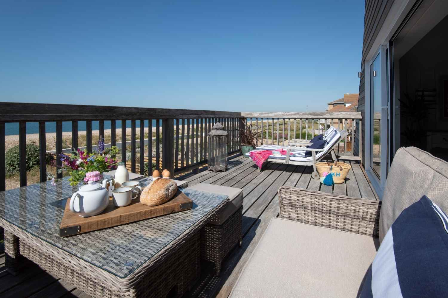 Sunny balcony with space for lounging