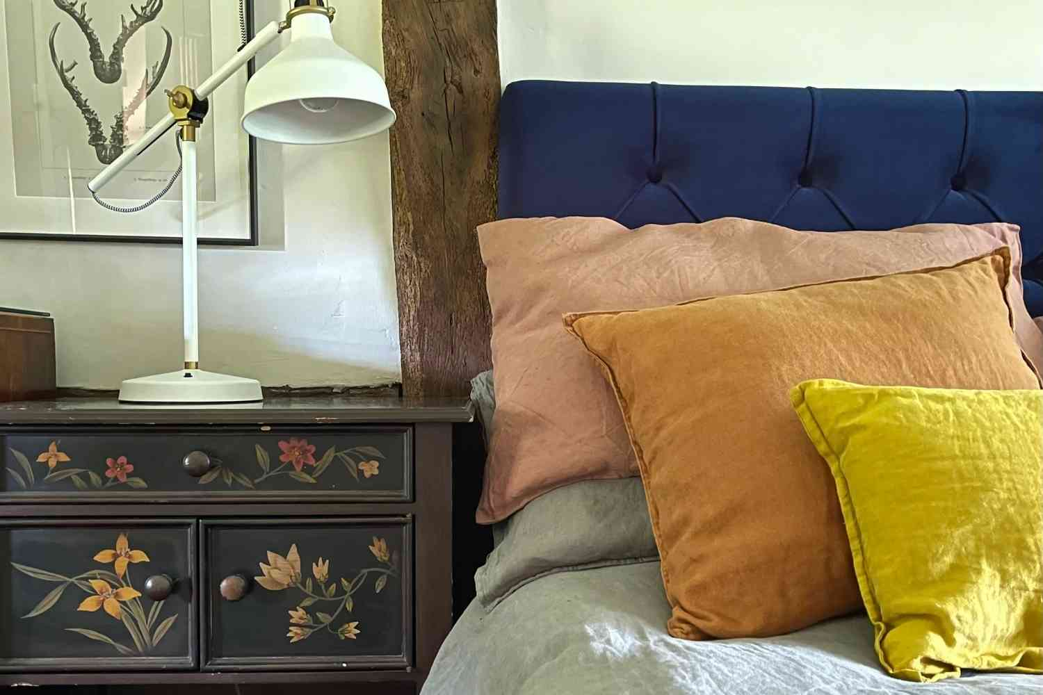 Reclaimed furniture and comfortable linens