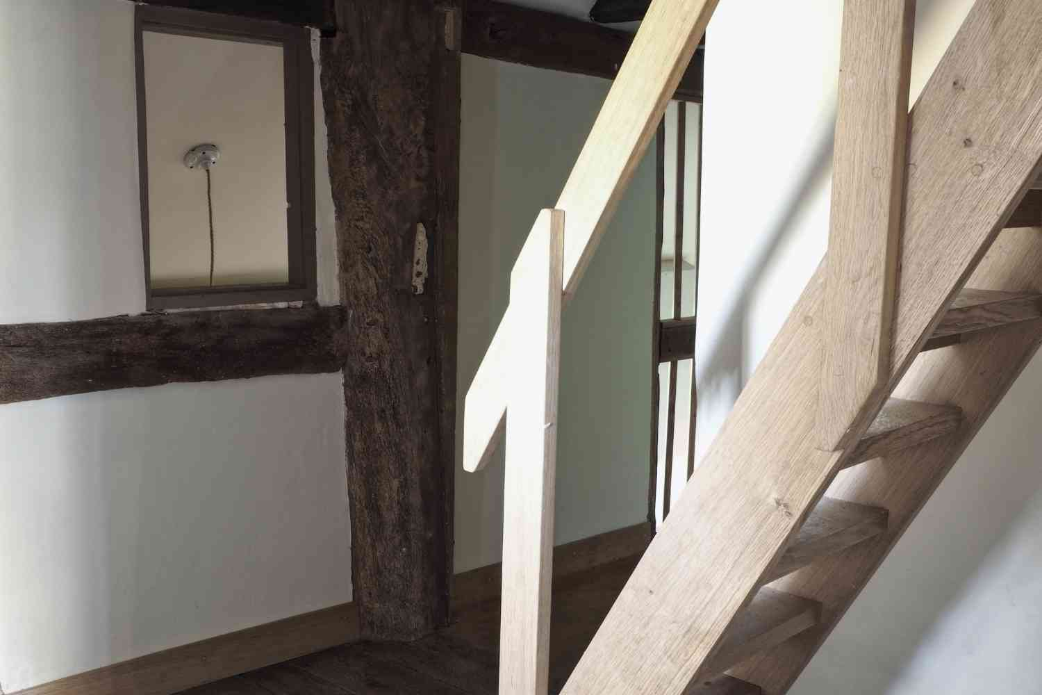 The steep attic staircase